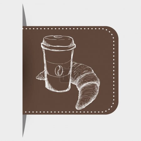 drawing breakfast plastic cup coffee croissant label