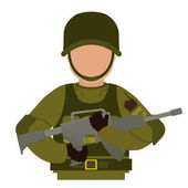 Military with his gun and equipment protection