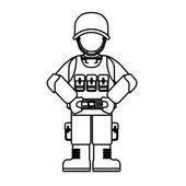 Military figure with its different protection tools