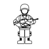 Military figure with its different protection tools and his gun