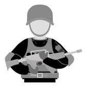 Military contour with his gun and equipment protection