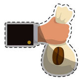 Beige coffee sack in the hand icon