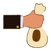 Color coffee sack in the hand icon