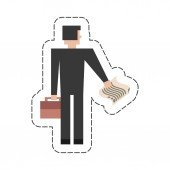 businessman with suitcase documents icon