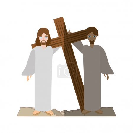 simon help jesus carry croos- via crucis shadow
