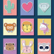 Icon set of cute animals over colorful squares and...