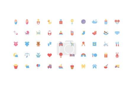 Photo pour Bébé objets et jouets icône set design, Enfant nouveau-né innocence de l'enfance et petit thème Illustration vectorielle - image libre de droit