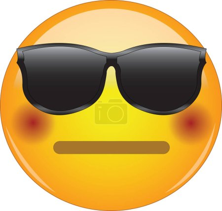 Cool flushed neutral face emoji. Awesome yellow face emoticon wearing sunglasses and having a small, closed mouth and blushing cheeks. Expressing embarrassment, disbelief, excitation.