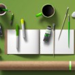 Mockup branding template. Empty green background i...