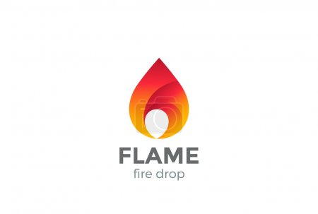 Illustration for Fire Flame Logo design vector template droplet shape - Royalty Free Image