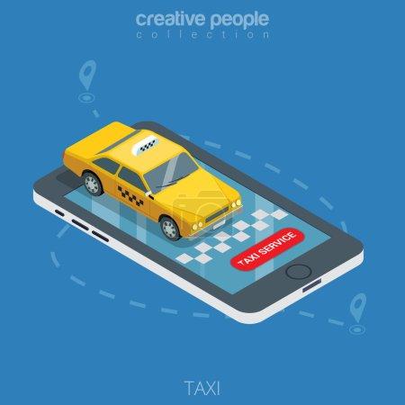 """Ilustración de Taxi amarillo taxi isométrico plano en la ilustración vectorial del teléfono inteligente. 3d isometry en línea mobile taxi orden servicio de aplicación de servicio. Coche, pines de punto de ruta Gps, señales de tablero de ajedrez, botón """"Taxi service"""". - Imagen libre de derechos"""