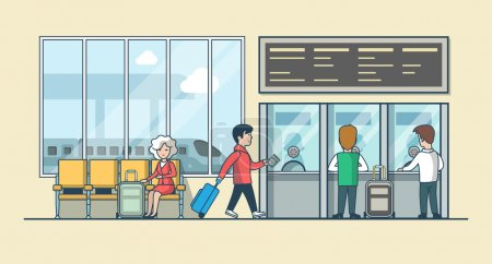 Illustration for Linear Flat people on railway station waiting hall and cashier ticket desk office vector illustration. Public transportation concept. - Royalty Free Image