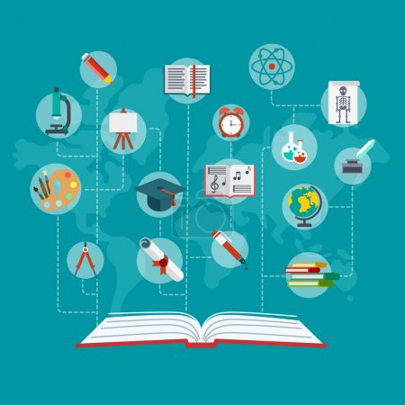 Illustration for Flat conceptual open book with education icons connected by dashed lines vector illustration. Education and knowledge infographics concept. Graduation certificate, science, art and school objects. - Royalty Free Image