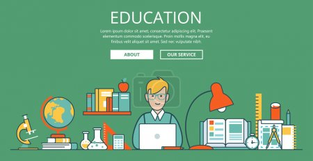 Illustration for Linear Flat education website hero image vector illustration. Educational and knowledge concept. Nerd student with laptop and college objects. Microscope, globe, book, flask, test tube and sketch. - Royalty Free Image