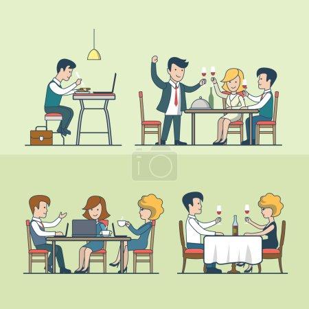 Flat people in restaurant