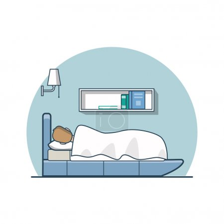 Illustration for Linear Flat man covered with blanket sleeping on bed in bedroom vector illustration. Casual life concept. - Royalty Free Image