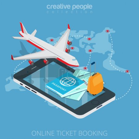 Illustration for Flat isometric plane, boarding pass, luggage on smartphone vector illustration. 3d isometry online mobile ticket booking app concept. Aircraft, passport, suitcase, tickets and flight map objects. - Royalty Free Image