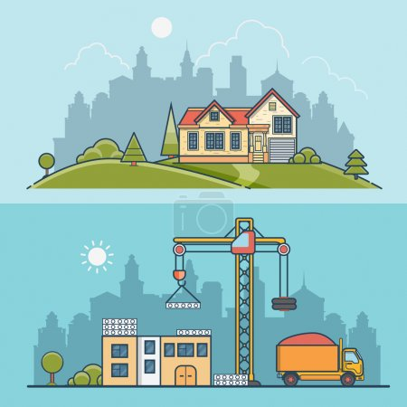 Illustration for Linear Flat construction site and suburb house vector illustration set. Building process business concept. Crane constructing concrete panels, tipper truck with sand, home on green lawn meadow. - Royalty Free Image