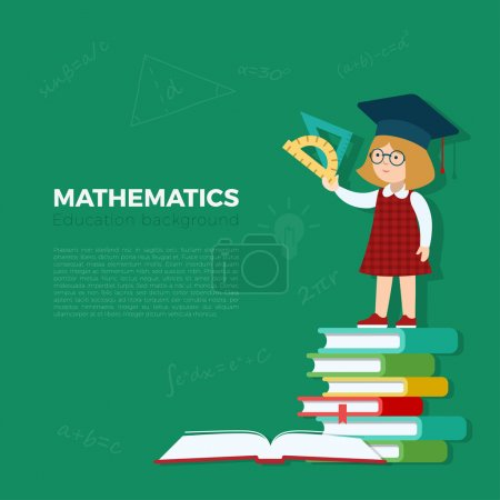 Illustration for Math lesson background vector illustration. Pupil girl standing on book heap with rulers. Primary school mathematics education concept. - Royalty Free Image