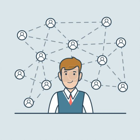 businessman with social media network