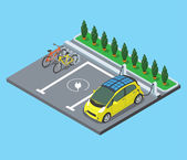 Flat isometric Parking for bicycles and electro cars charging vector illustration 3d isometry modern city facilities and services architecture collection