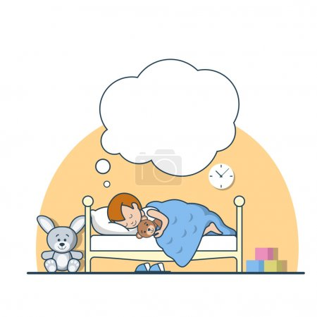 Illustration for Linear Flat little boy sleeping and dreaming on his bed among toys, hugging Teddy bear vector illustration. Family values and happy childhood concept. - Royalty Free Image