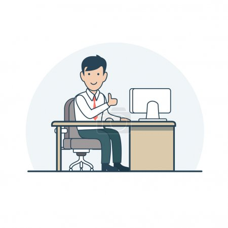 Businessman sitting at working plac