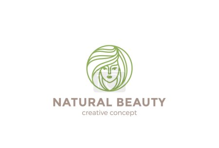 Illustration for Beauty Hairdresser salon Woman Logo design vector template circle shape - Royalty Free Image