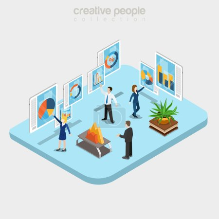 Illustration for Flat isometric Modern analytics department interior, businesspeople working with touchscreen boards vector illustration. 3d isometry Online technology, Data analysis, Teamwork business concept. - Royalty Free Image