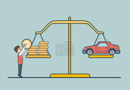 Illustration pour Pièces linéaires en Dollar Plat et voiture sur les échelles, homme mettant pièce pour équilibrer illustration vectorielle libra. Concept de propriété . - image libre de droit