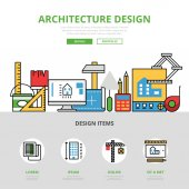 Linear flat website infographics template and icons website hero image vector illustration Architecture design concept