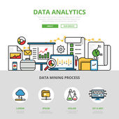 Linear flat Data analytics website infographics template and icons website hero image vector illustration Report and analysis business concept