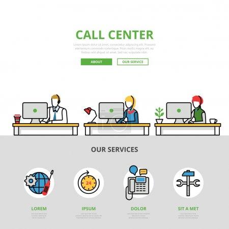 Illustration pour Linéaire plat Call center site infographie modèle et icônes site héros image vectorielle illustration. Concept de support utilisateur - image libre de droit