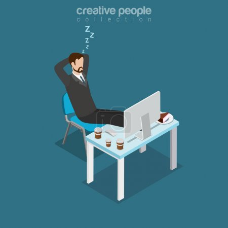 Illustration for Flat isometric lazy businessman sleeping during coffee break, office working place, drinks and cake on table vector illustration. 3d isometry business concept. - Royalty Free Image
