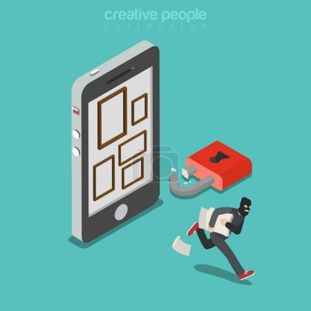 Illustration for Flat isometric thief in mask running out with pictures, smartphone screen with empty frames, broken padlock vector illustration. 3d isometry Mobile security concept. - Royalty Free Image