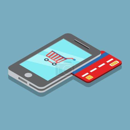 Ilustración de Carro plano isométrico en pantalla del Smartphone, pagos de tarjeta de crédito utilizando teléfono vector ilustración. Móvil de isometría 3D concepto de servicio de banca. - Imagen libre de derechos
