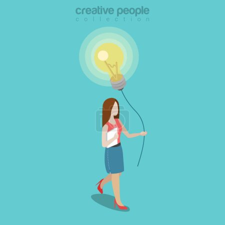 Woman holding balloon made of lamp