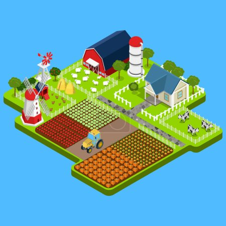 Illustration for Flat isometric countryside buildings infographic template vector illustration. 3d isometry Natural farm products concept. Barn, warehouse, storage, shop, tractor, windmill, water, pump house image. - Royalty Free Image