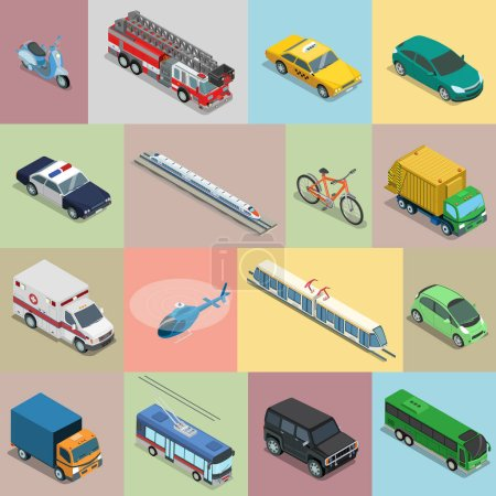 Illustration for Isometric flat vehicle, railway, flying transport vector illustration set. 3d Isometry City service and specialized transportation collection. - Royalty Free Image