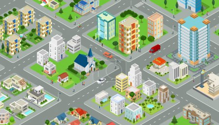 Photo for Flat isometric megalopolis blocks infographics with roads and crossroads vector illustration. 3d isometry modern city buildings and architecture collection. - Royalty Free Image