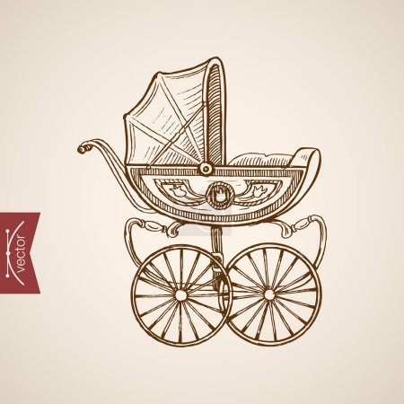 baby carriage doodle collage