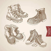 Vector illustration design of vintage hand drawn lacing sport shoes and winter boots