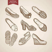 Vector illustration design of vintage hand drawn sandals thongs and shoes