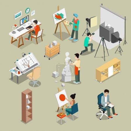 Illustration pour Illustration vectorielle design de dessin à la main isométrique Atelier d'art ou atelier avec mobilier - image libre de droit