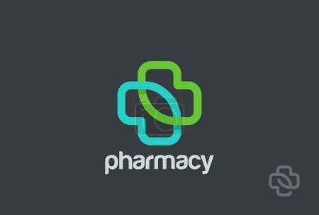 Illustration for Pharmacy Logo eco green cross design vector template - Royalty Free Image