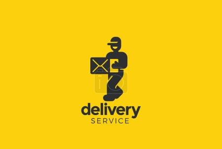 Illustration pour Courier d'homme livraison tenue style de boîte Logo design vectoriel modèle espace négatif - image libre de droit