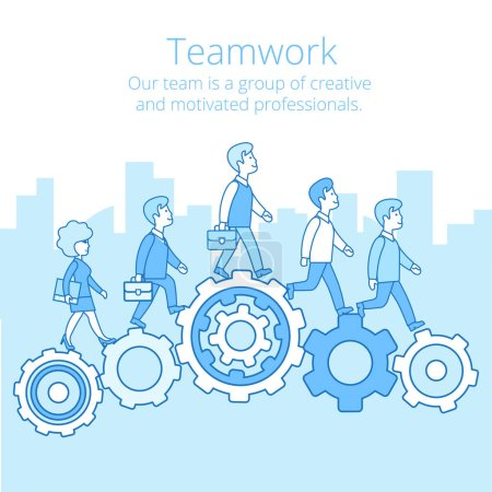 Businesspeople synchronously walking gearwheels