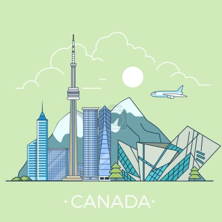 Canada country design template. Linear Flat famous...