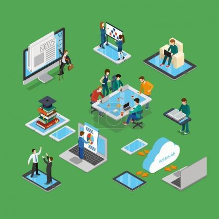 isometric businesspeople brainstorming