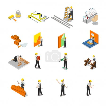 Flat isometric Construction professionals  icons.